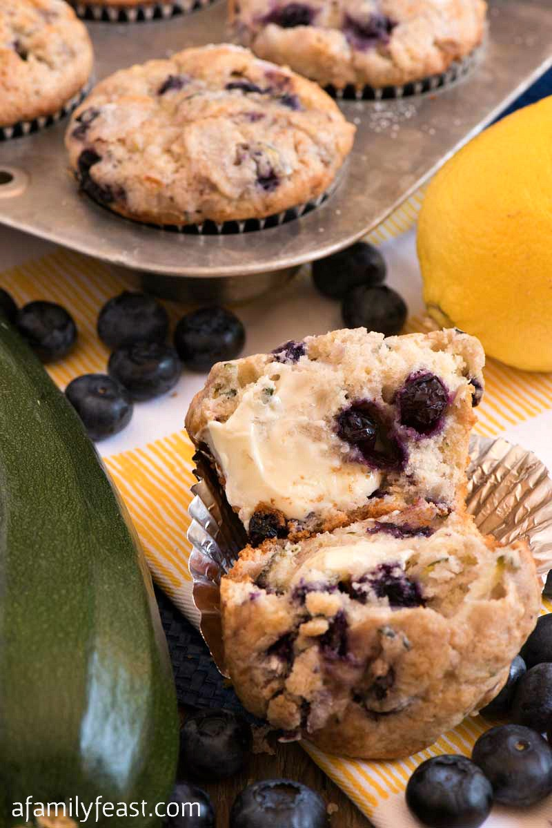 Muffins with Zucchini Lemon and Blueberries