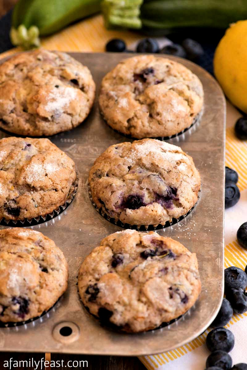 Lemon Zucchini Blueberry Muffins