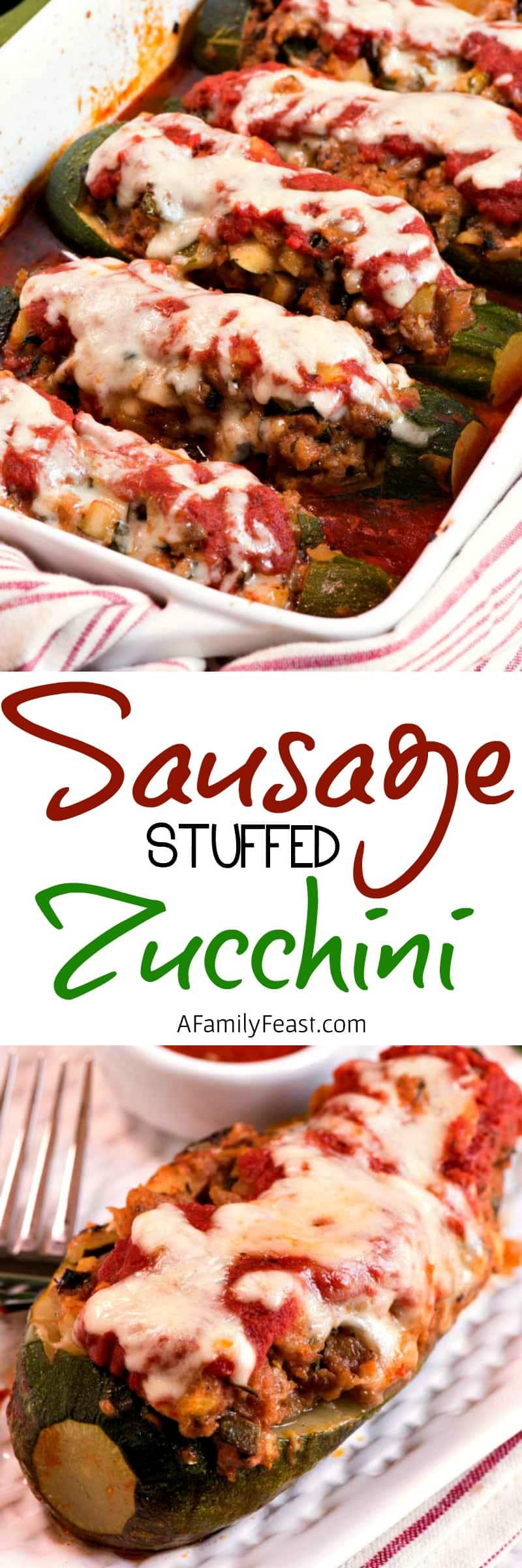 Make this delicious Sausage Stuffed Zucchini recipe with fresh garden zucchini!