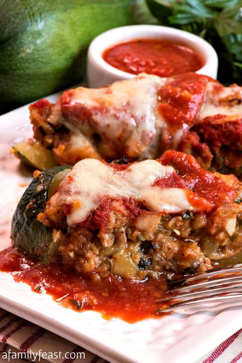 zucchini stuffed with sausage