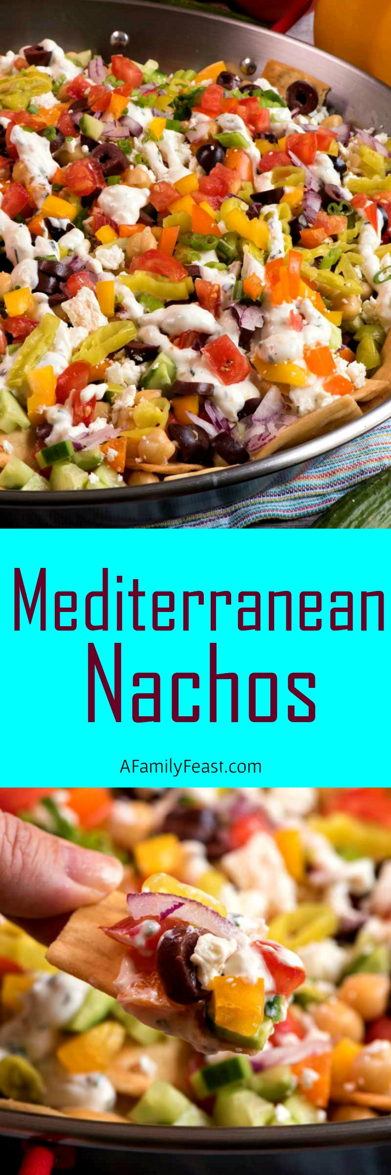 Mediterranean Nachos - fresh vegetables, Greek yogurt and crispy pita chips