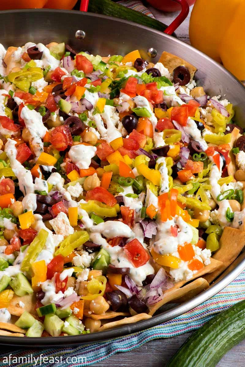 pita chip and vegetable nachos