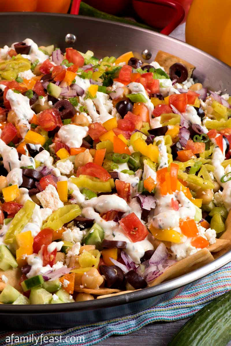 healthy nachos with fresh vegetables