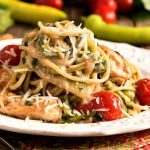 Salmon with Zucchini and Spaghetti