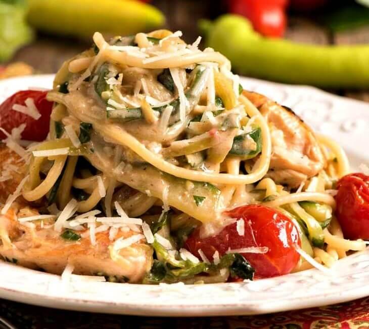 Salmon with Zucchini and Spaghetti