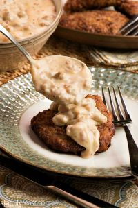 Sausage Gravy Over Chicken Fried Steak - A Family Feast