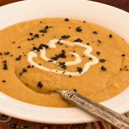 Sweet Potato Soup with Orange Crème Fraîche - A Family Feast