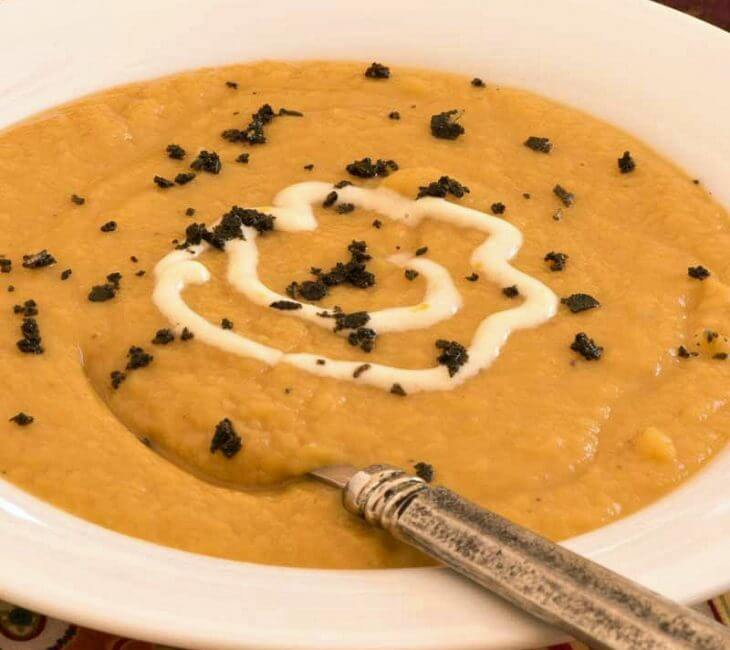 Sweet Potato Soup with Orange Crème Fraîche (and Electrolux Immersion Blender Giveaway)