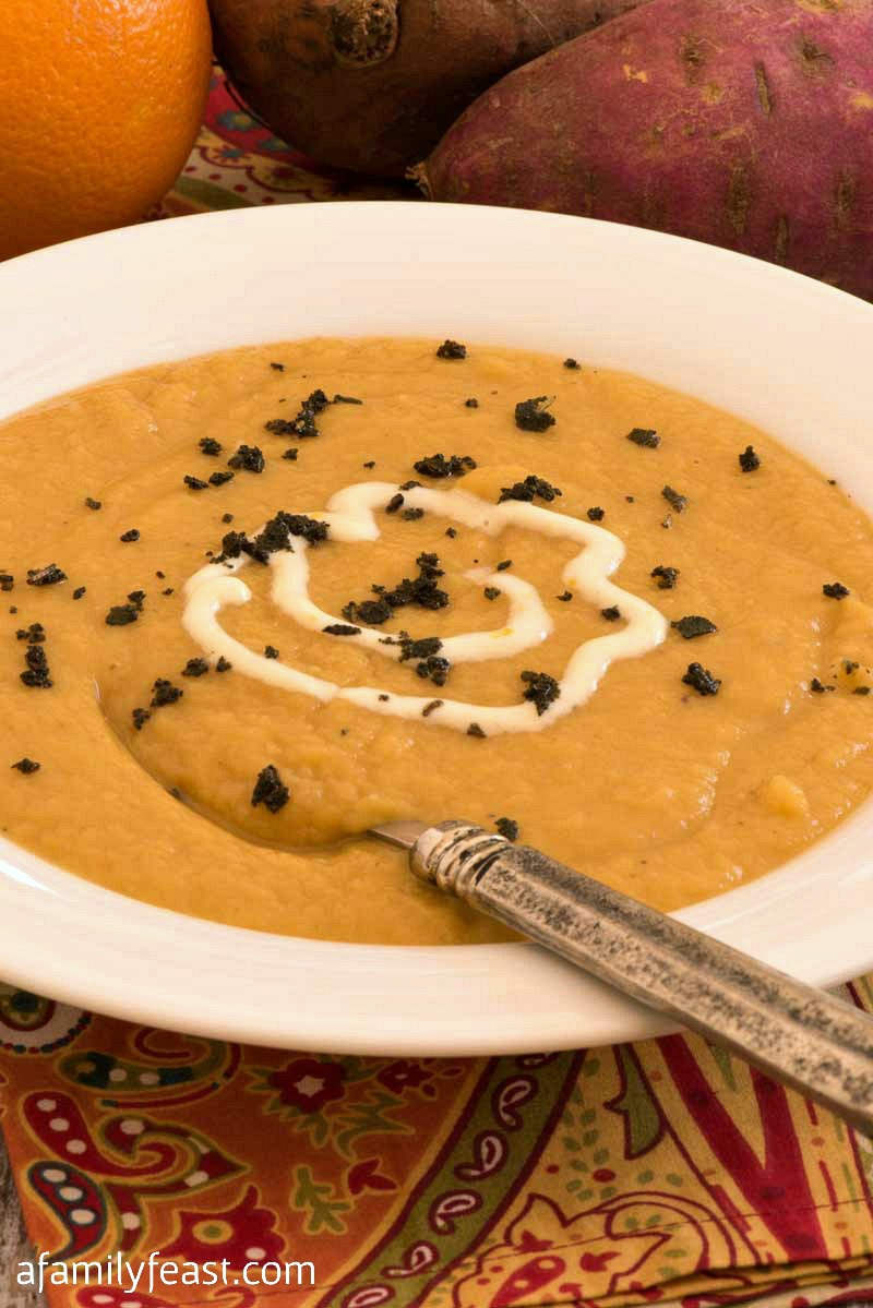 Sweet Potato Soup with Orange Crème Fraîche - A Family Feast