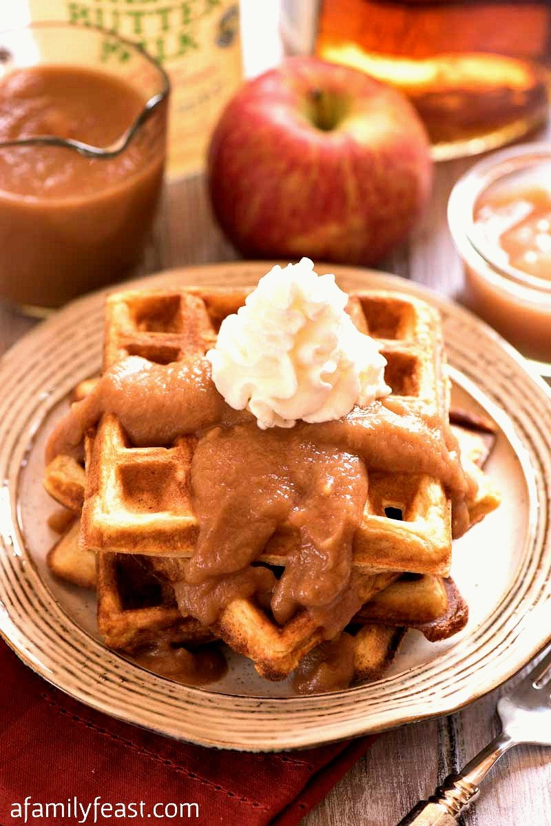 Make these epic Apple Buttermilk Waffles with Apple Bourbon Sauce for brunch this weekend! So good!
