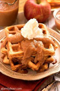 Apple Buttermilk Waffles with Apple Bourbon Sauce - A Family Feast