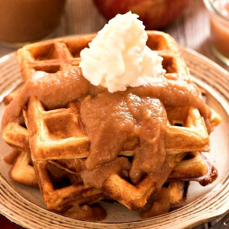 Apple Buttermilk Waffles with Apple Bourbon Sauce - A Family Feast