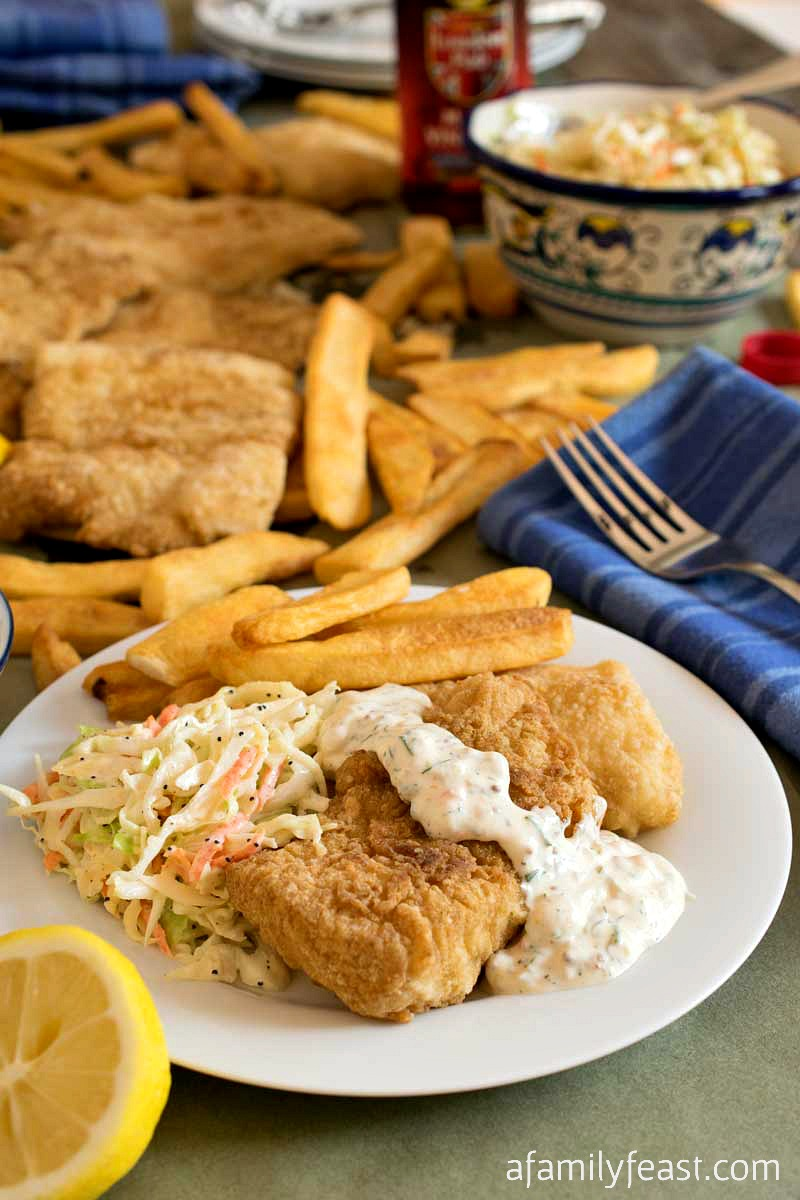 fried fish with coleslaw