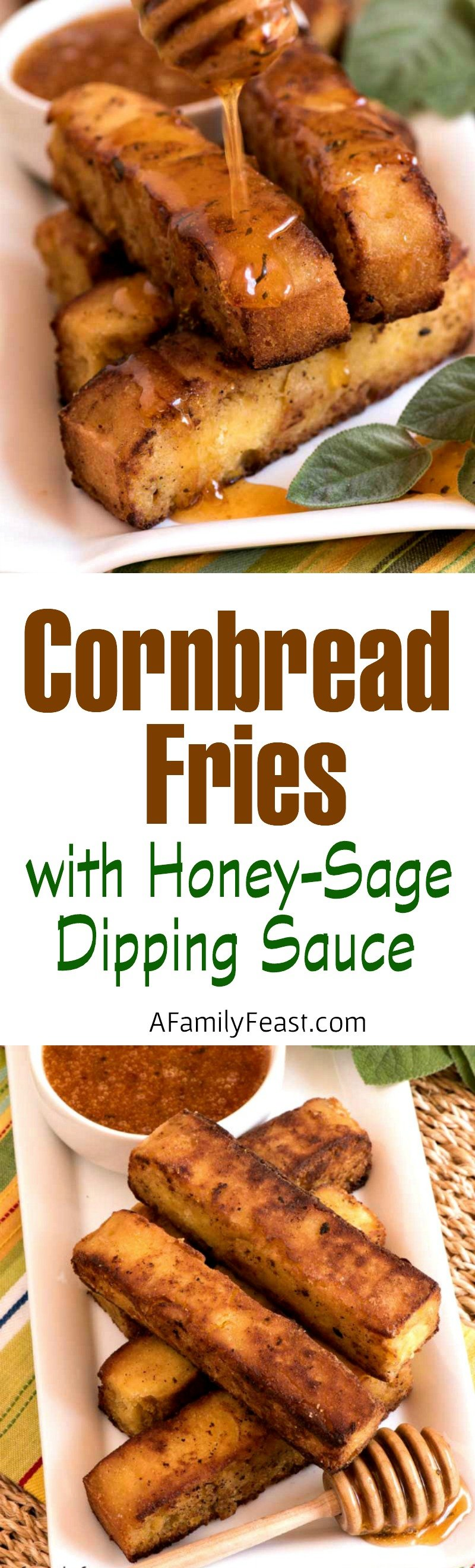 These Cornbread Fries with Honey-Sage Dipping Sauce are an addictively delicious snack!