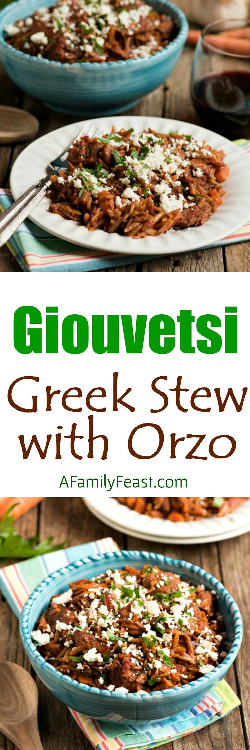 Giouvetsi (or Youvetsi) is a delicious and easy baked Greek pasta dish made with chicken, lamb or beef, orzo and tomato sauce.
