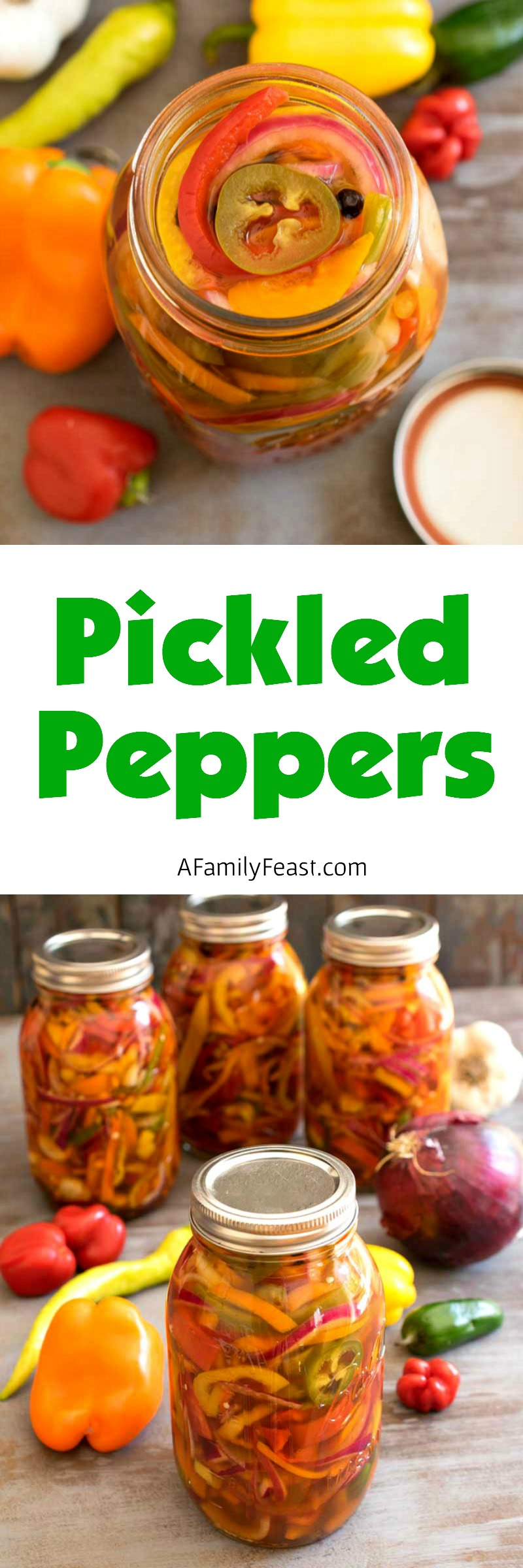 Make these easy, delicious Pickled Peppers with fresh garden peppers - then enjoy all winter long!