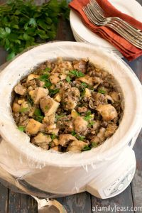 Slow Cooker Sourdough Stuffing with Turkey Sausage and Apples
