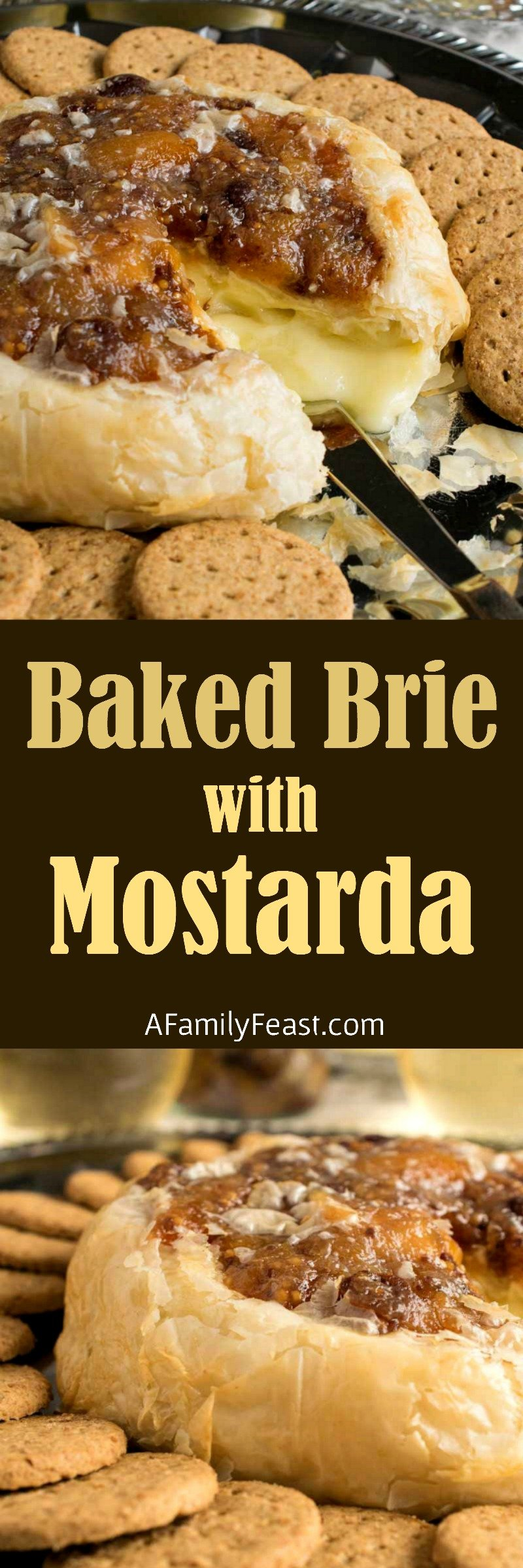 Warm and melty Baked Brie with Mostarda. Flaky golden phyllo dough wrapped around brie and topped with fruity mostarda.