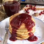 Eggnog Pancakes with Fresh Cranberry Syrup