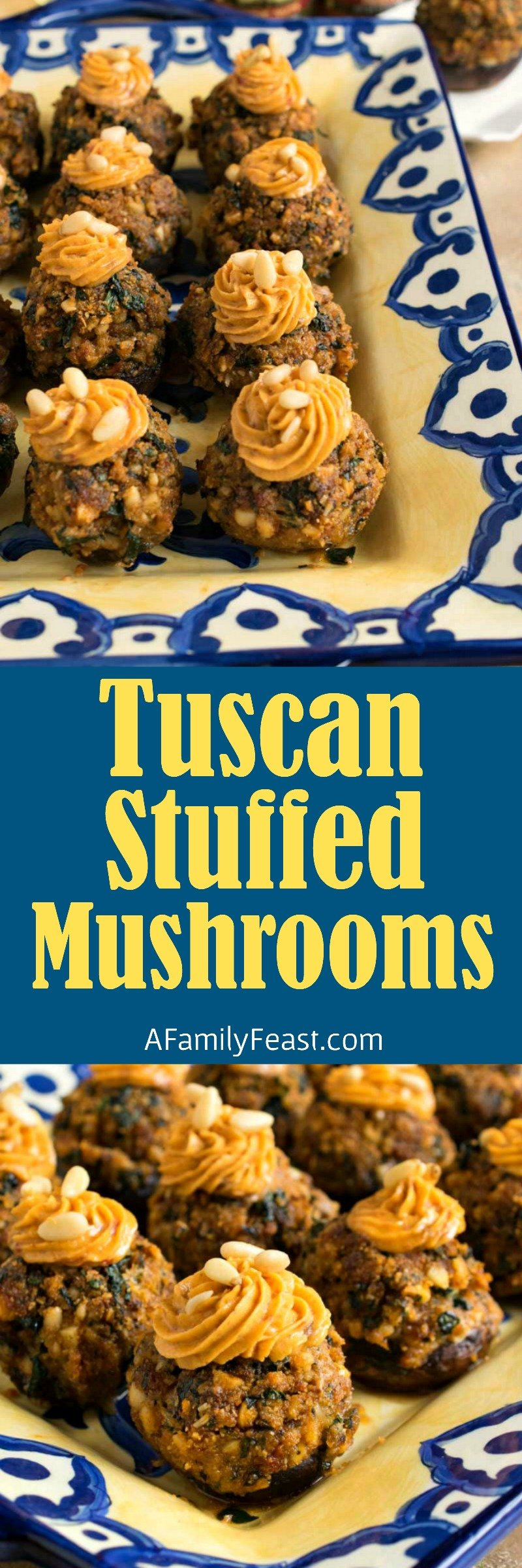 These delicious Tuscan Stuffed Mushrooms are full of fantastic flavor. Sun dried tomato pesto, pine nuts, cheese and breadcrumbs. A perfect holiday appetizer!