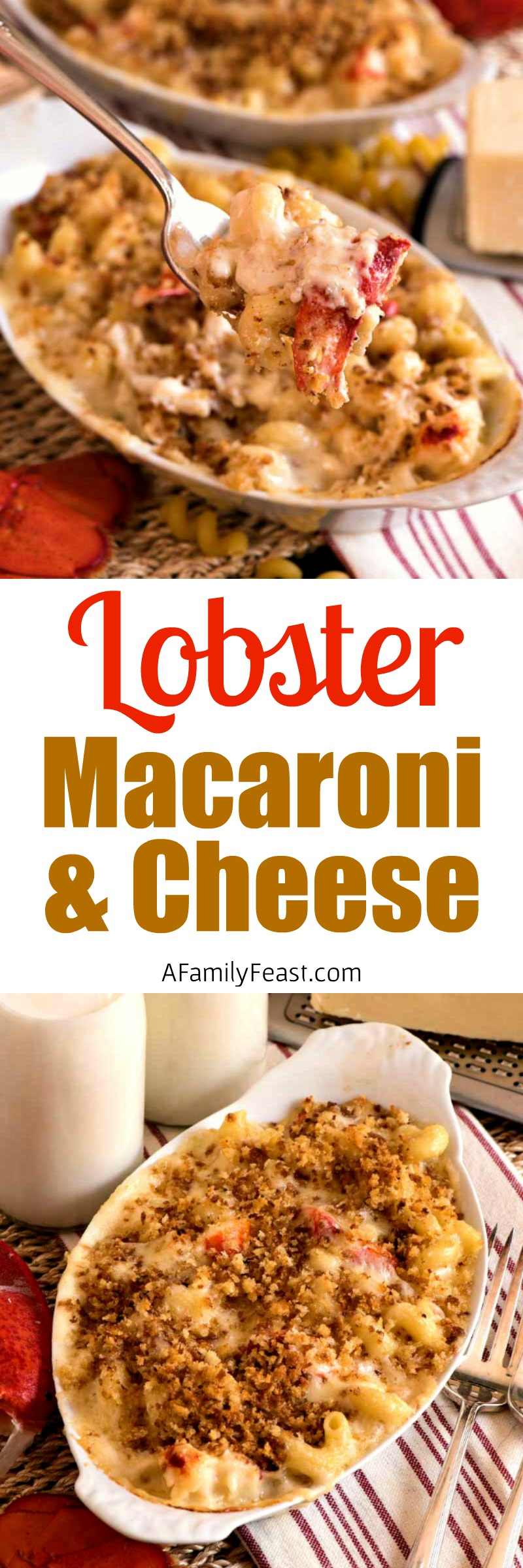Lobster Mac and Cheese - Creamy macaroni and cheese loaded with chunks of lobster!