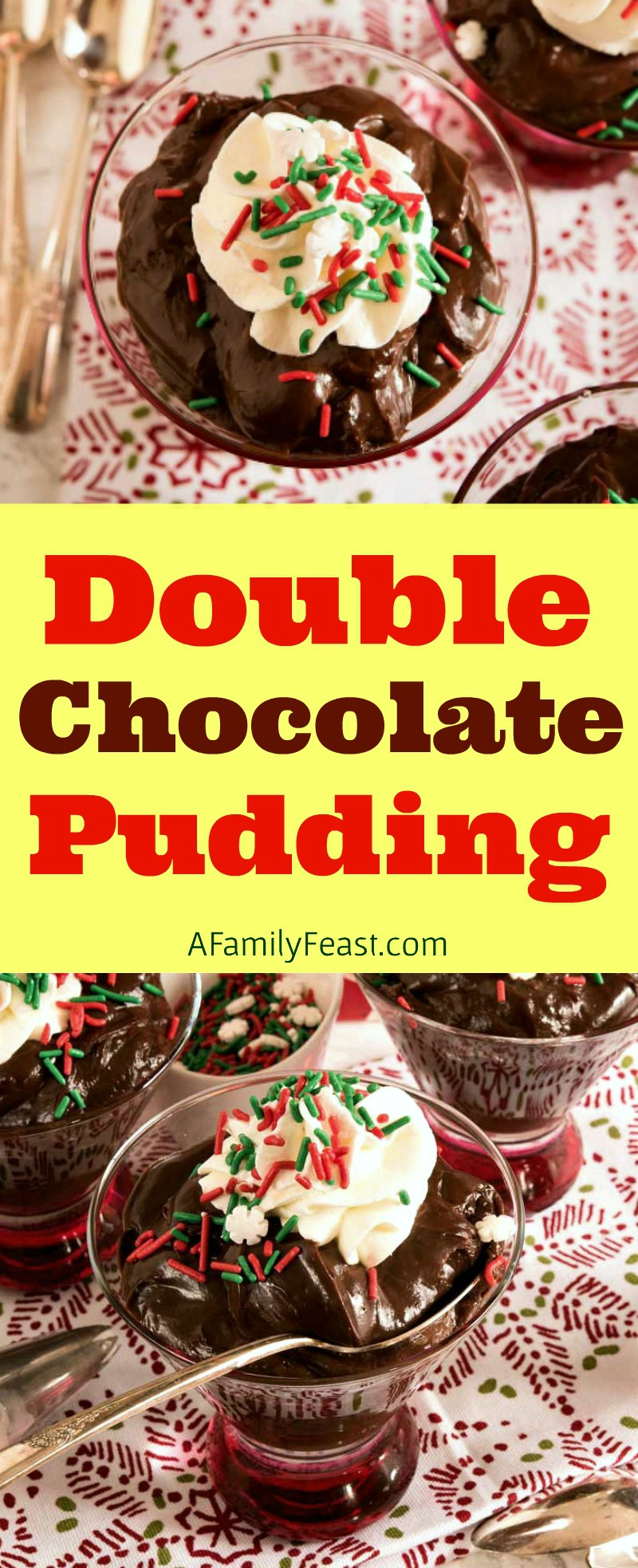 Creamy, delicious Double Chocolate Pudding is easy to make and lusciously delicious! A perfect, homemade chocolate pudding for any special occasion!