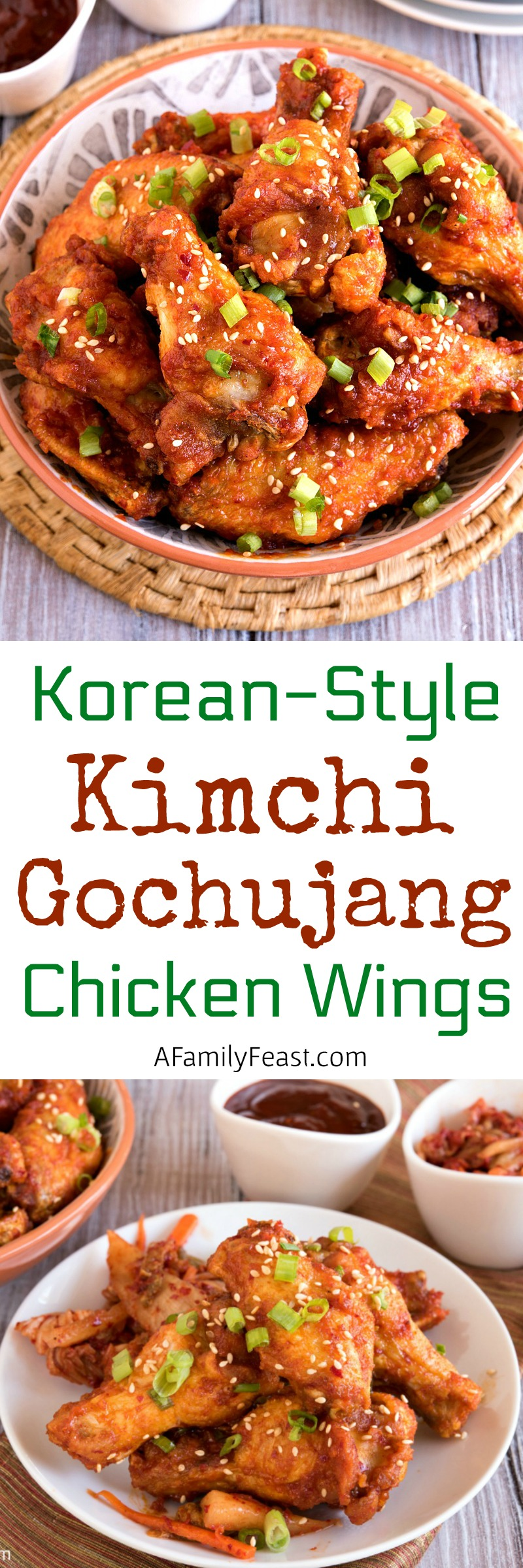 Spicy and delicious...Don't serve the same old chicken wings at this weekend's game day party. Make our Korean-Style Kimchi Gochujang Chicken Wings instead!