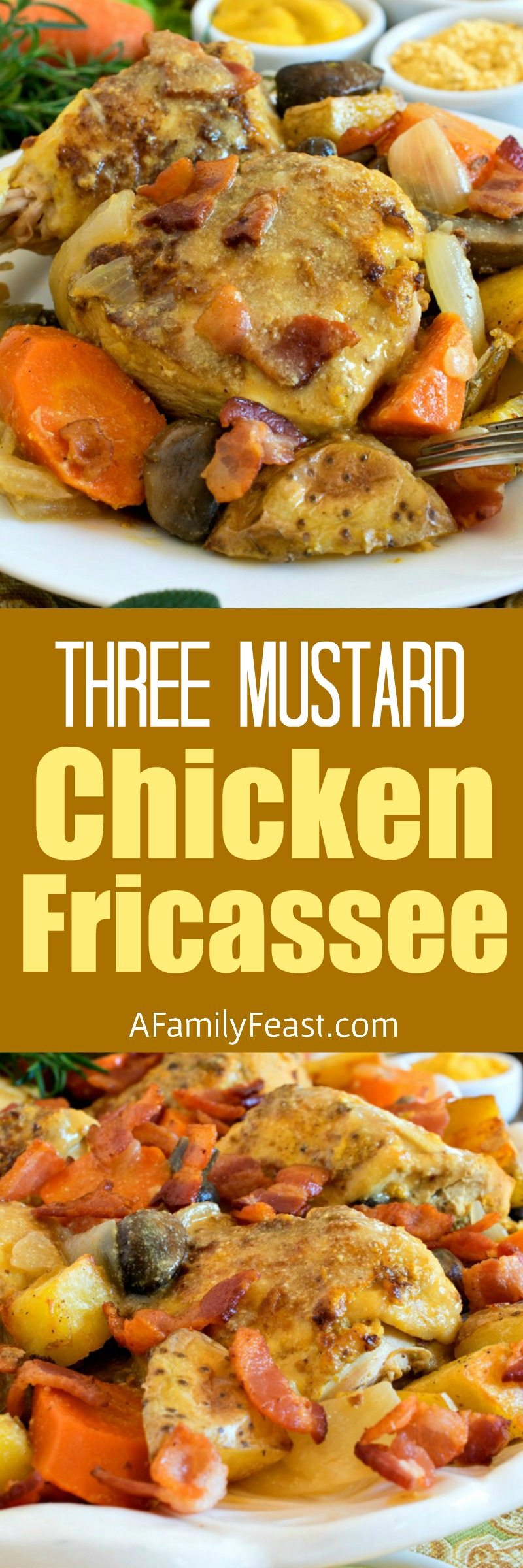 This flavorful Three Mustard Chicken Fricassee will make your taste buds dance and sing! Tender pieces of meat and vegetables in a luxurious, creamy sauce with a kick of mustard flavor.