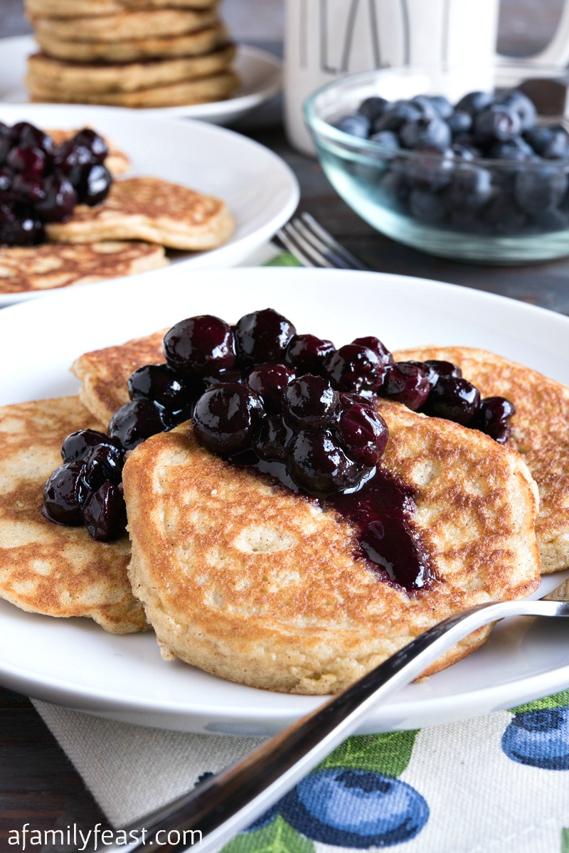 Low Carb Pancakes with Blueberry Sauce