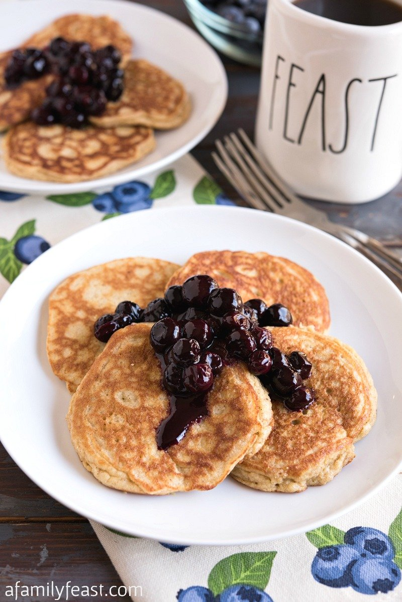 Low Carb Pancakes with Blueberry Sauce - A Family Feast