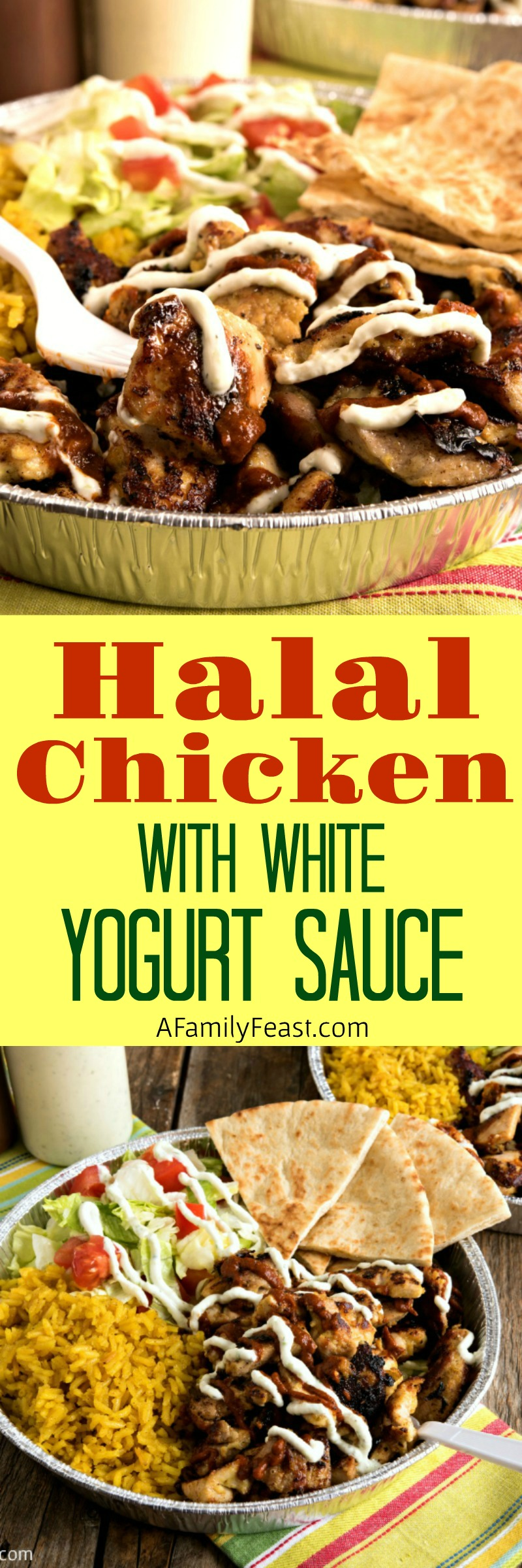 Halal Cart-Style Chicken with White Yogurt Sauce - A delicious copycat recipe that tastes just like the popular New York City food trucks.