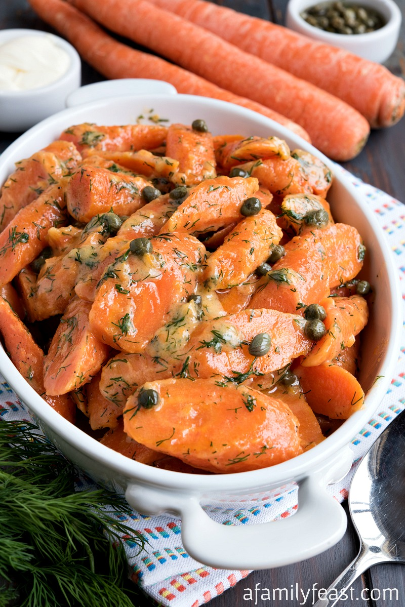 carrots with dill and capers in a creamy sauce
