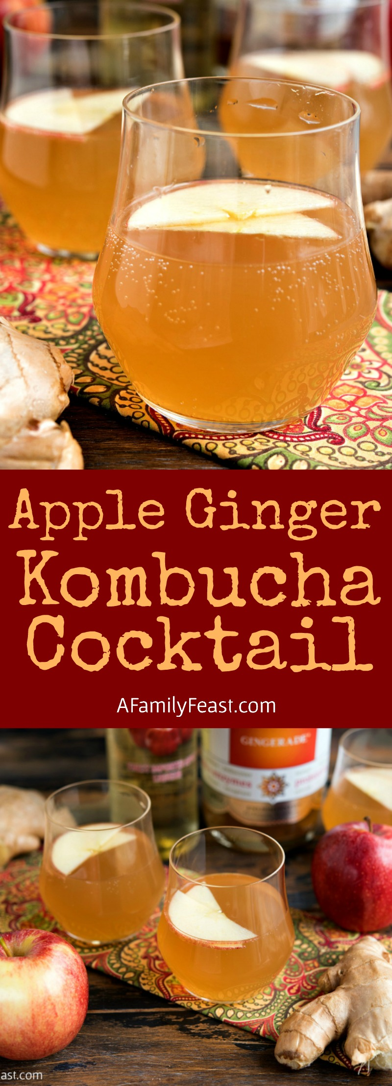 Apple Ginger Kombucha Cocktail