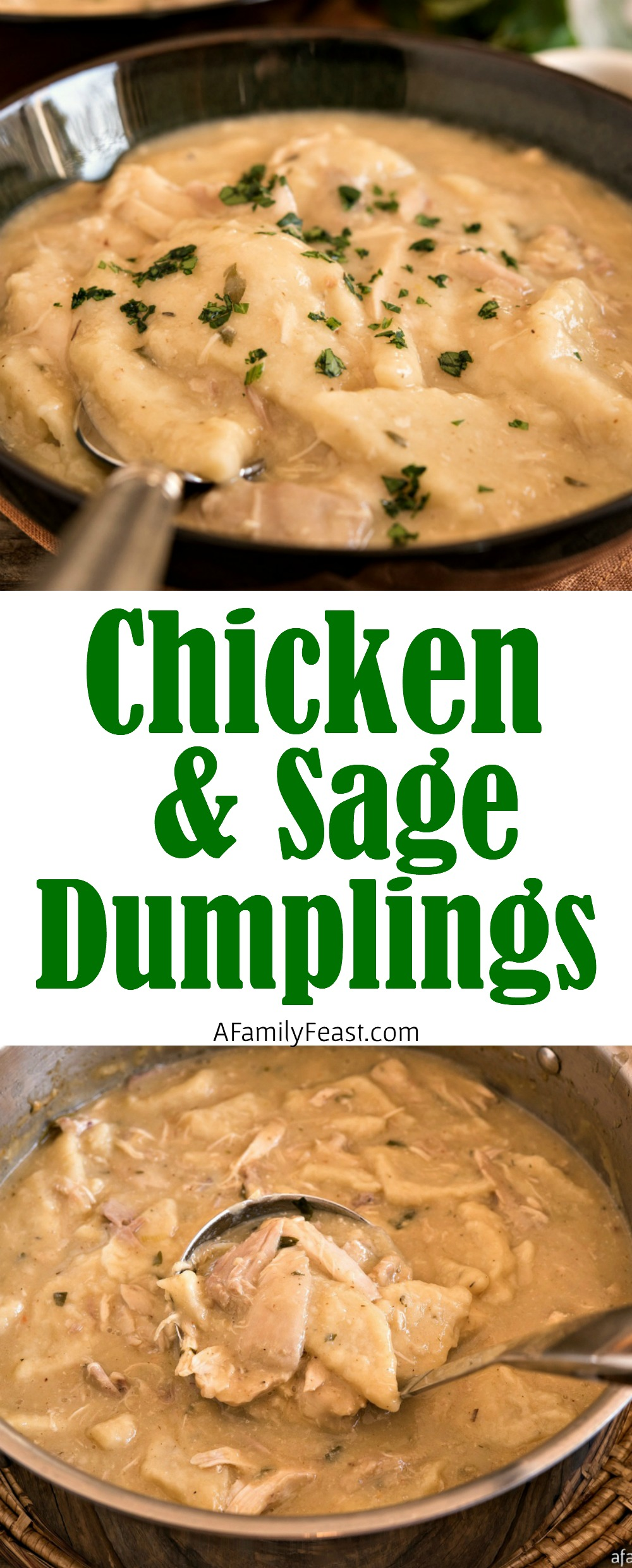 Chicken with Sage Dumplings is the ultimate, delicious comfort food. Tender chunks of chicken and vegetables, sage-infused dumplings, all smothered in a creamy sauce.