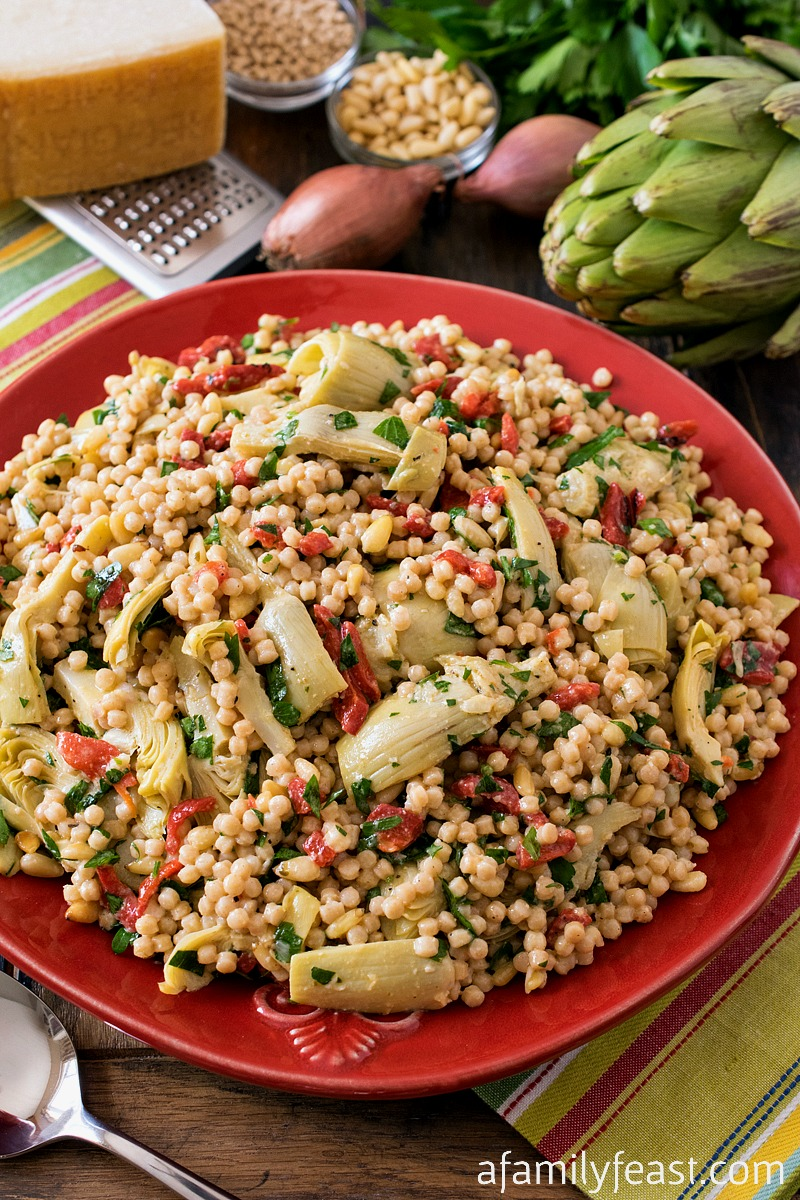 Israeli Couscous Salad with Artichokes and Roasted Red Peppers