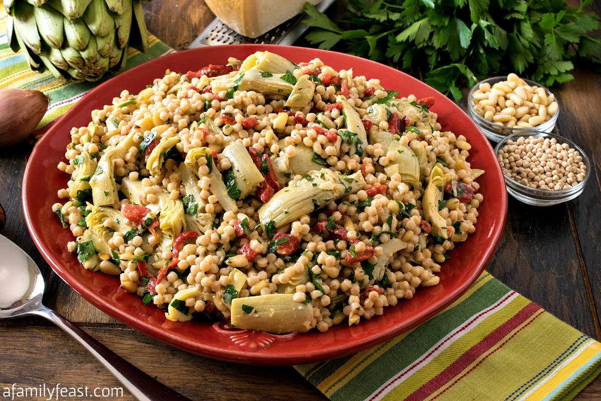 Israeli Couscous Salad With Artichokes And Roasted Red Peppers A
