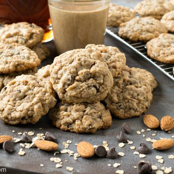 Almond Butter Oatmeal Chocolate Chip Cookies - A Family Feast