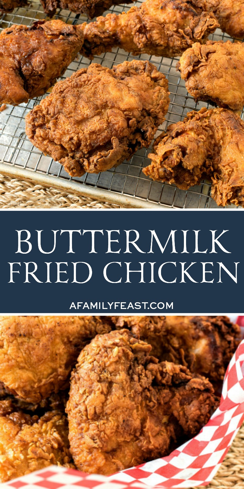 This Buttermilk Fried Chicken recipe is crispy and flavorful on the outside, and juicy and tender on the inside! A true, classic Southern fried chicken recipe!