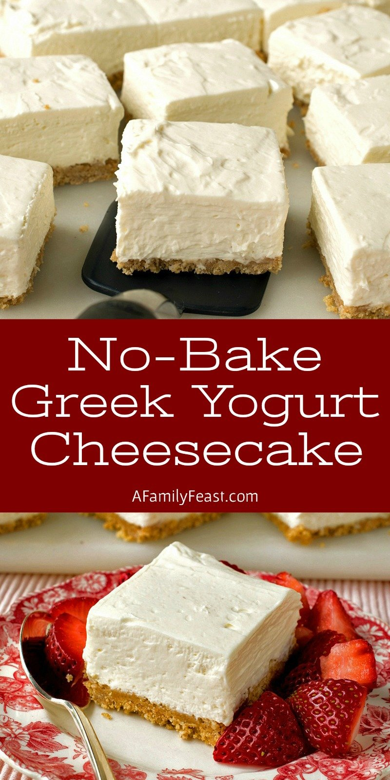 These No-Bake Greek Yogurt Cheesecake Squares are creamy and delicious with a wonderful tangy-sweet flavor thanks to the addition of whole-milk Greek yogurt and cream cheese. Your guests will love this easy dessert!