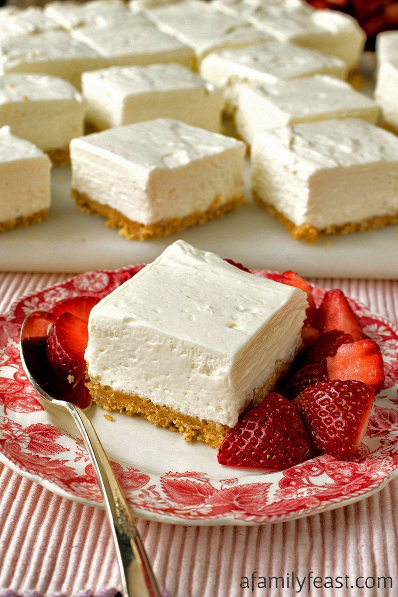 No-Bake Greek Yogurt Cheesecake Squares - A Family Feast