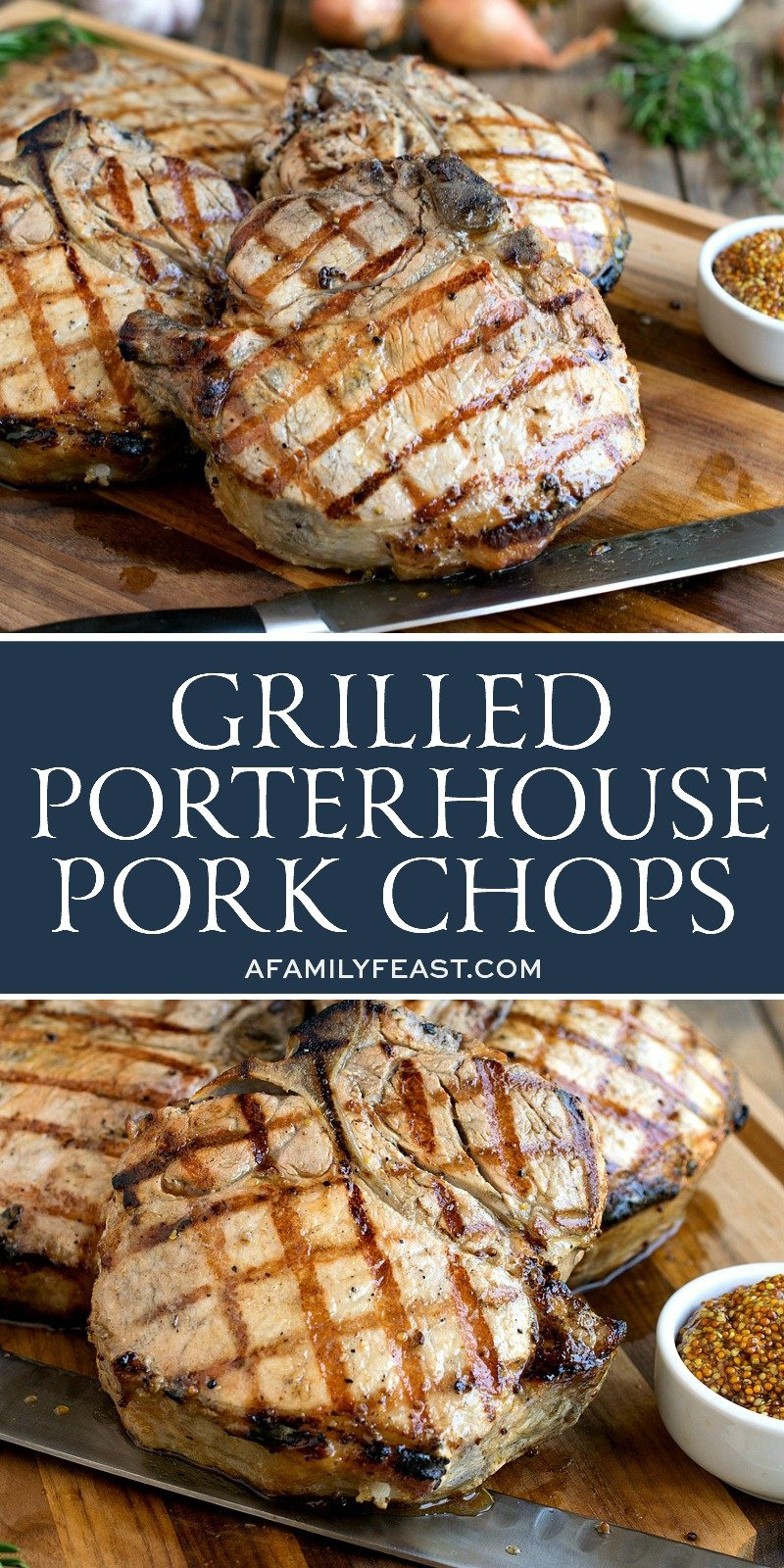 These thick and juicy Grilled Porterhouse Pork Chops are going to be the talk of the neighborhood! Delight your hungry guests and make them for your next cookout!
