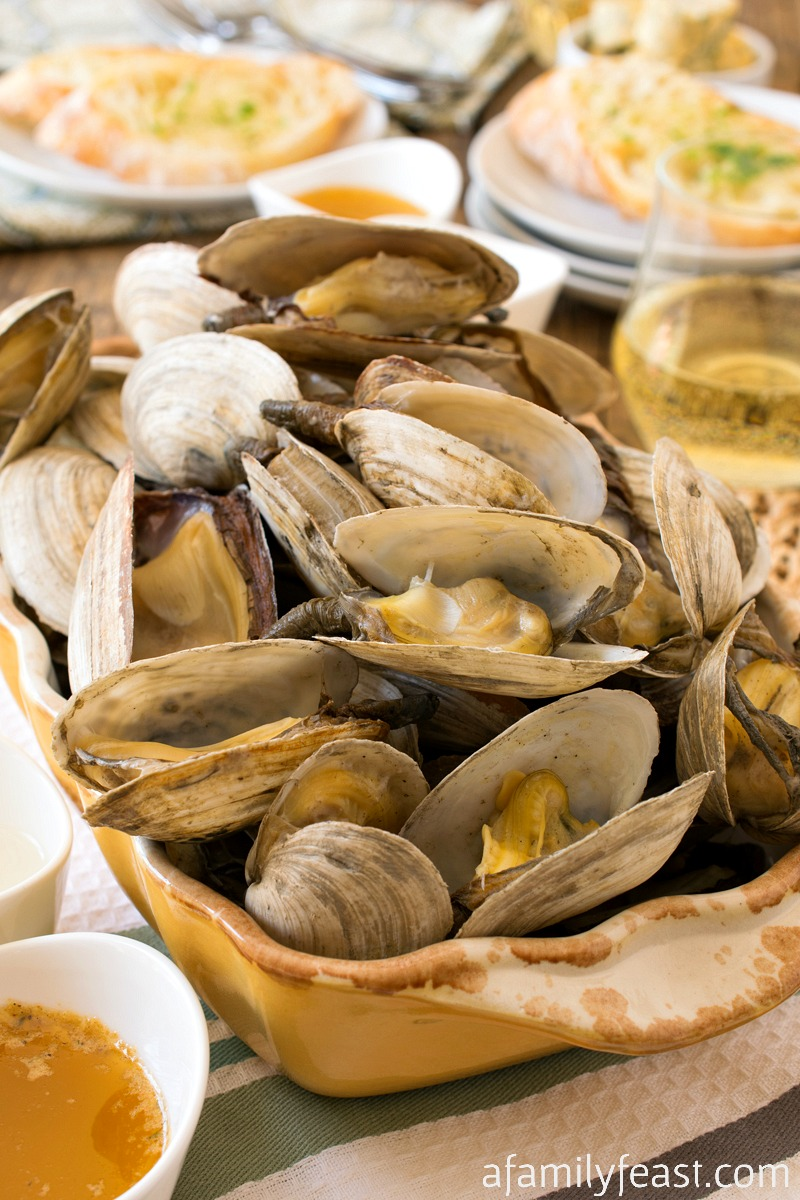 Steamers with Compound Butter and Garlic Toast