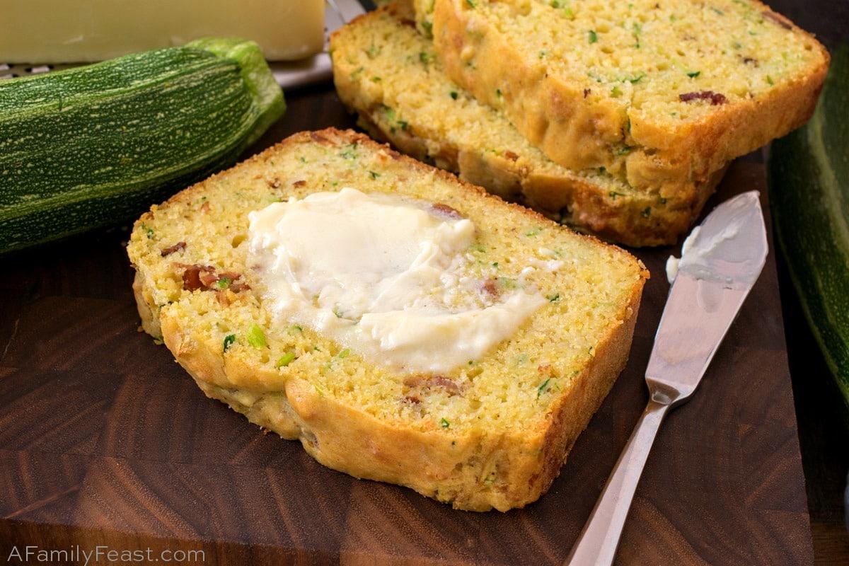 Cheesy Bacon Zucchini Bread - A Family Feast