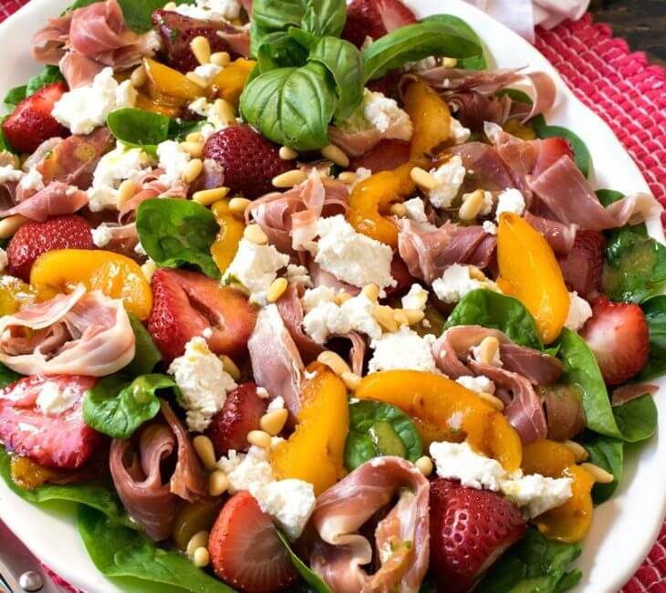 Roasted Peach Strawberry Spinach Salad