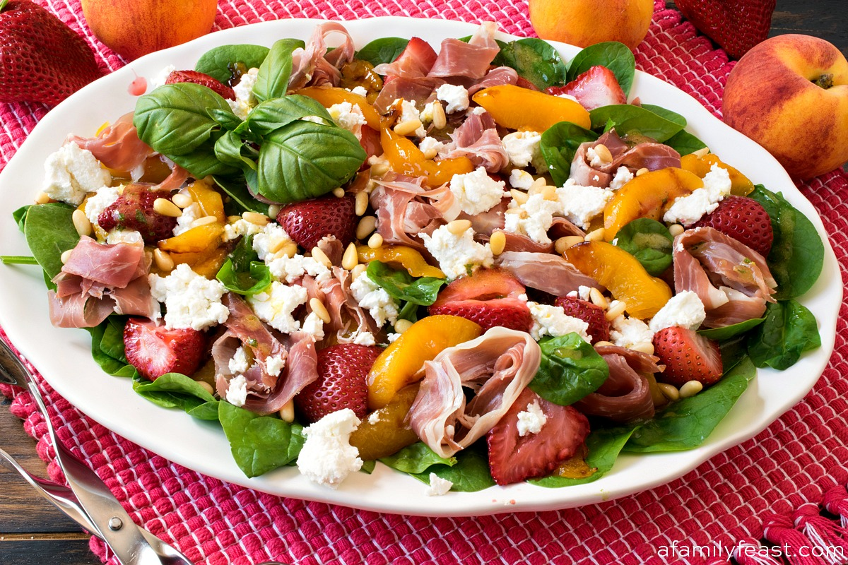 Roasted Peach Strawberry Spinach Salad - A Family Feast