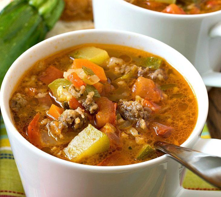 Zucchini Tomato Italian Sausage Soup