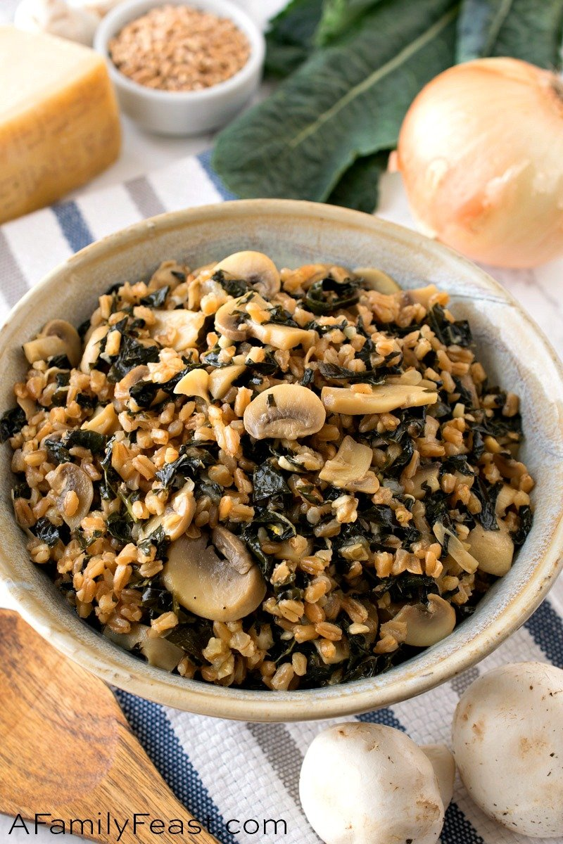 Farro Risotto with Mushrooms and Tuscan Kale
