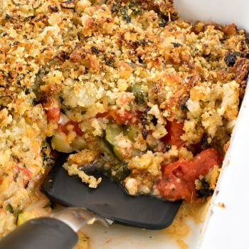 Baked Tomatoes and Zucchini with Cheddar Parmesan Panko Topping
