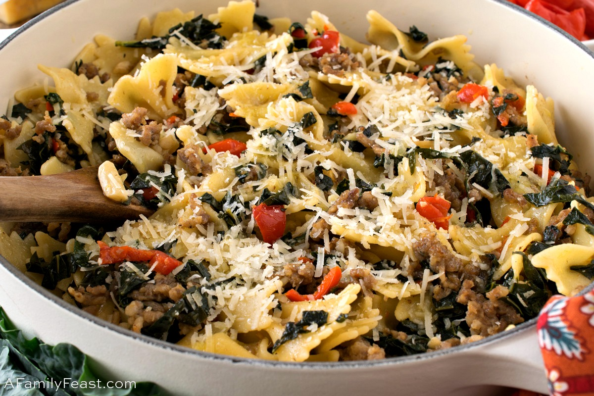 Farfalle with Italian Sausage and Tuscan Kale