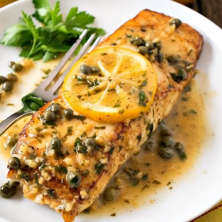 Pan Seared Halibut with Lemon Caper Sauce